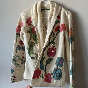 Oilily wool blend floral open cardigan